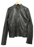 ()の古着「スタンドカラーレザージャケット」 ブラック