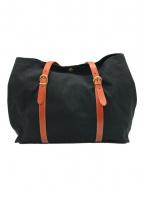 IL BISONTE(イルビゾンテ)の古着「キャンバスレザートートバッグ」|ブラック