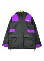 ()の古着「中綿フーデッドジャケット」|ブラック×パープル