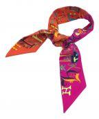 HERMES()の古着「シルクツイリースカーフ」|オレンジ×ピンク