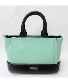 Kate Spade(ケイト・スペード)の古着「2WAYエナメル配色ハンドバッグ」|ブラック×グリーン