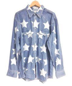 Saint Laurent Paris(サンローランパリ)の古着「star print oversized shirt シャツ」 インディゴ