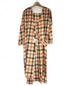 rukkilill(ルッキリル)の古着「W/Cu CLAN CHECKガウン コート」|ブラウン
