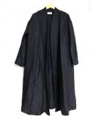 yuni(ユニ)の古着「ロングノーカラー羽織コート」|ブラック