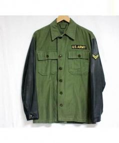 SISII(シシ)の古着「レザースリーブミリタリージャケット」|オリーブ