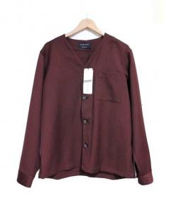 UNITED TOKYO(ユナイテッドトウキョウ)の古着「ノーカラーシャツブルゾン ジャケット」 バーガンディー