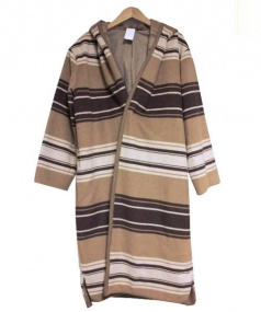 so1:1(ソウワンバイワン)の古着「オーバーブランケットフーディコート」 ベージュ×ブラウン