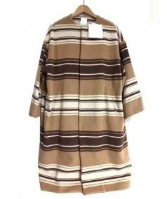 so1:1(ソウワンバイワン)の古着「ノーカラーオーバーブランケットコート」 ベージュ×ブラウン