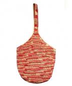 HELEN KAMINSKI(ヘレンカミンスキー)の古着「手編みラフィアワンショルダーバッグ」 オレンジ
