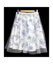Apuweiser-riche(アプワイザーリッシェ)の古着「花柄チュールスカート」|ブルー