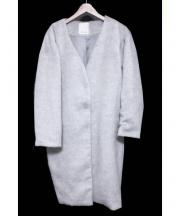 BABYLONE(バビロン)の古着「WOOLビーバーノーカラーコート」 グレー
