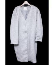 BABYLONE(バビロン)の古着「WOOLビーバーノーカラーコート」|グレー