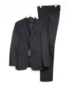 COMME CA MEN(コムサメン)の古着「ポリスシャドーストライプセットアップスーツ」|ブラック