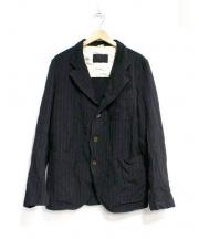 COMME des GARCONS(コムデギャルソン)の古着「ポリ縮絨ストライプジャケット」|ブラック