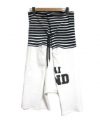 GANRYU(ガンリュウ)の古着「綿裏毛×綿天竺製品プリント製品洗いタイパンツ」|ホワイト×ブラック