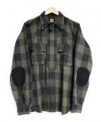HUMAN MADE(ヒューマンメイド)の古着「ブロックチェックプルオーバーシャツ」|オリーブ×ブラック