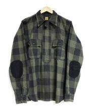 HUMAN MADE(ヒューマンメイド)の古着「ブロックチェックプルオーバーシャツ」 オリーブ×ブラック
