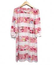 Rose Tiara(ローズティアラ)の古着「フラワープリントワンピース」|ピンク