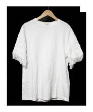 CLANE(クラネ)の古着「Fringe Sleeve T-shirt Tシャツ」|ホワイト