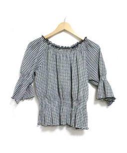 KUMIKYOKU(クミキョク)の古着「ギンガムチェックブラウス」|ホワイト×ブラック