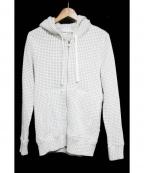 Seagreen(シーグリーン)の古着「オニワッフルジップパーカー」|ライトグリーン