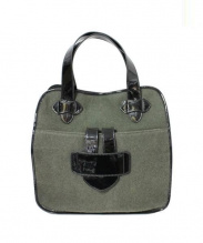 TILA MARCH(ティラマーチ)の古着「ウールハンドバッグ」 オリーブ×ブラック