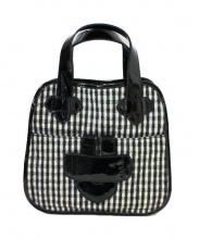 TILA MARCH(ティラマーチ)の古着「チェックウールハンドバッグ」 グレー×ブラック