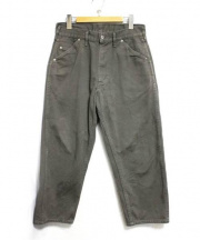 tuki(ツキ)の古着「0082 WORK PANTS FINE DRILL ボトム」|カーキ