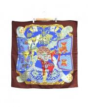 HERMES(エルメス)の古着「シルクスカーフ」|ブラウン×ブルー