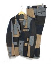 BEAMS(ビームス)の古着「パッチワークセットアップスーツ」|グレー×キャメル