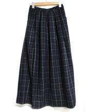 GAIJIN MADE(ガイジンメイド)の古着「チェックロングロングスカート」|ネイビー