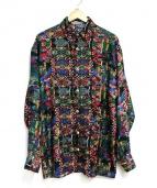 coogi(クージー)の古着「総柄シルクシャツ」|ブラック×マルチカラー