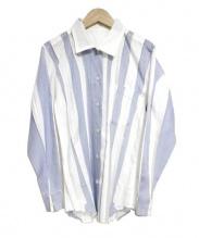 ISSEY MIYAKE ME(イッセイ ミヤケ ミィ)の古着「L/Sプリーツシャツ」|ホワイト×ブルー