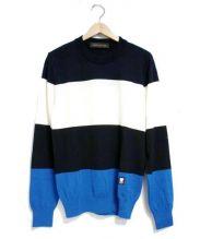 LOUIS VUITTON(ルイ・ヴィトン)の古着「カラーブロックニット」|アイボリー×ネイビー×ブルー