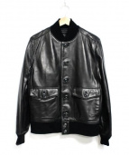 Eddie Bauer(エディーバウアー)の古着「COSSACK LTR JKT レザージャケット」|ブラック