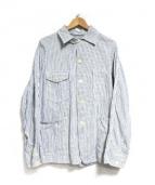 POST OALLS(ポストオーバーオールズ)の古着「ヒッコリーカバーオール」|ホワイト×インディゴ