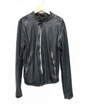 sisii(シシ)の古着「ノーカラーレザージャケット」|ブラック