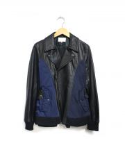 YASUTOSHI EZUMI(ヤストシ エズミ)の古着「切替ライダースジャケット」|ブラック×ネイビー