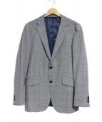 TAKEO KIKUCHI(タケオキクチ)の古着「コーデュラチェックシングルジャケット」|グレー