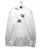 Supreme × COMME des GARCONS SHIRT(シュプリーム × コム・デ・ギャルソン シャツ)の古着「スプリットボックスロゴフーデットスウェットシャツ」|ホワイト