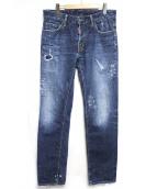 DSQUARED2(ディースクエアード)の古着「ダメージ&ペイント加工デニムパンツ」|インディゴ