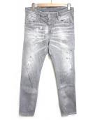 DSQUARED2(ディースクエアード)の古着「ダメージ加工ブラックデニム」|ライトグレー
