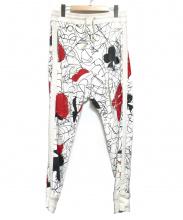Vivienne Westwood(ヴィヴィアンウエストウッド)の古着「トランプ柄スウェットパンツ」|ブラック×レッド