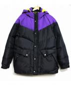 STUSSY(ステューシー)の古着「フーデッドダウンジャケット」 ブラック×パープル