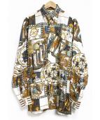 HERMES(エルメス)の古着「ヴィンテージスカーフシャツ」|ホワイト×ブラウン