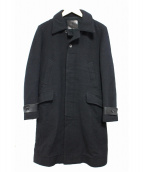 ISAMU KATAYAMA BACKLASH(イサムカタヤマ・バックラッシュ)の古着「パーツレザーウールメルトンコート」|ブラック