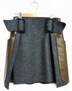 TOGA(トーガ)の古着「ウール×ボンディングスカート」|グレー×オリーブ