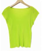 PLEATS PLEASE(プリーツプリーズ)の古着「プリーツノースリーブブラウス」|ネオングリーン