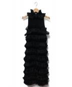 EMPORIO ARMANI(エンポリオアルマーニ)の古着「プリーツノースリーブドレス」|ブラック