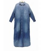 upper hights(アッパー ハイツ)の古着「THE SHIRT 09デニムシャツワンピース」 ブルー